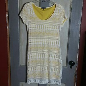 Tiana B Yellow Dress With Lace Overlay